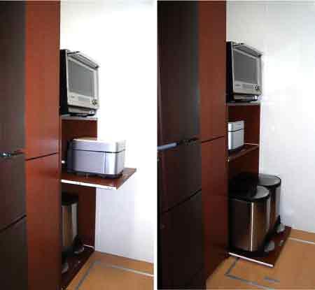 台所収納棚、レンジ台棚-スライドテーブルDT-008