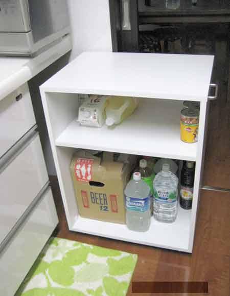 台所カウンター下、キャスターオーダー家具、引出し。DT-036