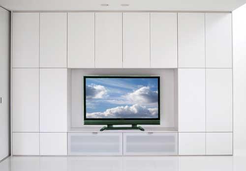 大型デジタルテレビ台と、リビングシステム収納棚。LT-028