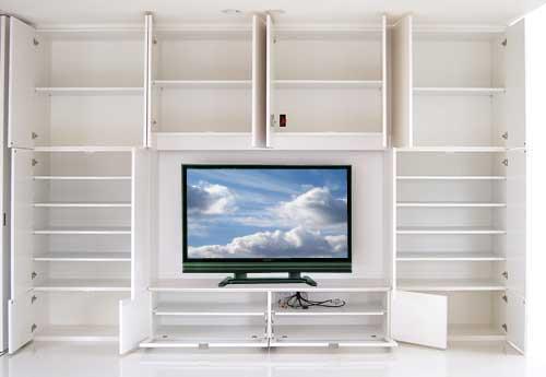 大型デジタルテレビ台と、リビングシステム収納棚。オープン-LT-028