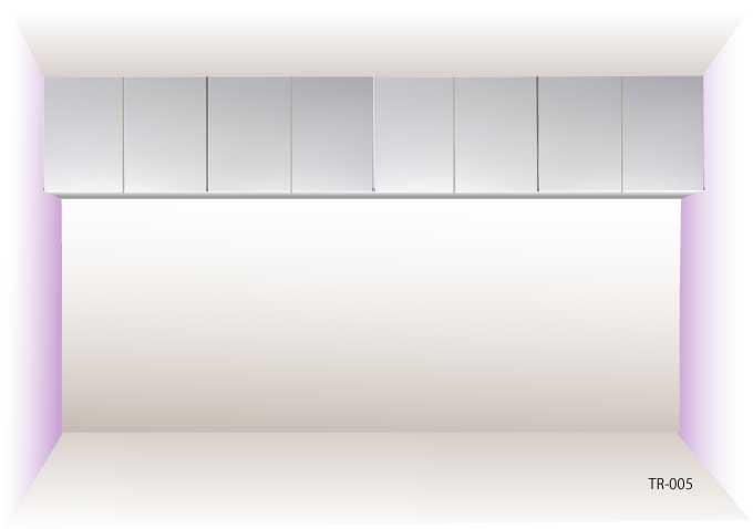 オーダー家具で創る吊り棚・部屋幅いっぱいのサイズ。