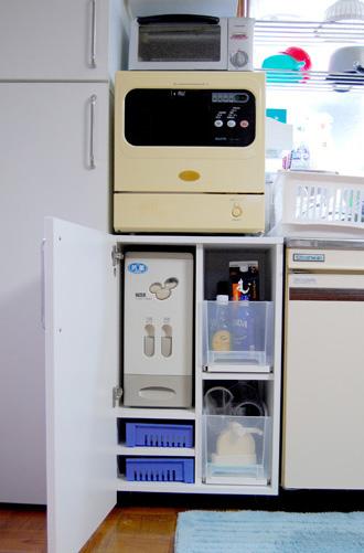 食器洗い機兼米びつ入れのオーダー家具
